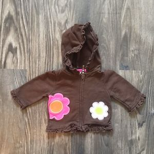 Brown Ruffle Zip Up with Flower Patches - Carters